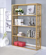 Acme 92465 Blanrio clear glass and gold finish metal 5 tier book case shelf unit