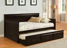 Sahara collection espresso finish wood frame day bed with pull out trundle