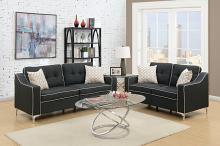 Poundex F6891 2 pc Sampson collection black linen like fabric upholstered sofa and love seat set