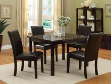 9405-9407 5 pc Pompei dark finish wood faux marble dining table set