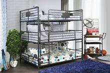 Furniture of america CM-BK912F Olga I collection triple full bed full over full over full antique black metal frame industrial bunk bed