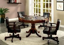 CM-GM339 5 pc rowan cherry finish wood man cave poker, gaming, dining table set with swivel chairs