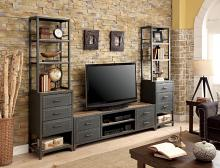 CM5904-TV-62-3PC 3 pc galway industrial style sand black finish metal entertainment center wall unit