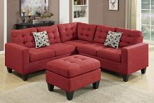 Poundex F6936 4 pc Pawnee collette carmine polyfiber faux linen fabric sectional sofa