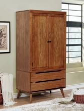 Furniture of america CM7386A-AR Lennart collection mid century modern oak finish wood clothing armoire stand alone closet cabinet