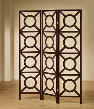 "Coaster 900090 3 panel espresso finish wood frame room divider shoji screen with circles design.   measures 3 (18"" wide panels ) x 70"" h."