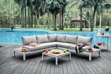 4 pc winona collection white aluminum frame and gray fabric cushions outdoor patio sectional and table