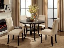 "CM3323RT-5PC 5 pc Kaitlin walnut finish wood industrial style 48"" round dining table set"