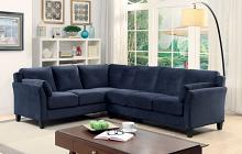 Furniture of america CM6368NV 2 pc peever collection contemporary style navy flannelette sectional sofa with tufted back and padded arms