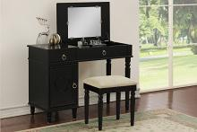 2 pc Angelica collection black finish wood make up bedroom vanity set with storage and stool and flip up mirror