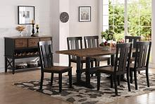 Poundex F2323-1571 7 pc bridget i collection two tone antiqued oak and black finish wood dining table set