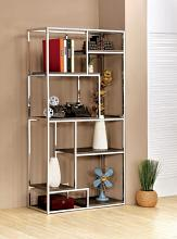 CM-AC6264CRM Elvira multi tier light dark finish wood shelves with chrome frame bookcase shelf