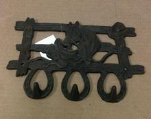 Cast iron horse saddle and hat triple hook wall hanger