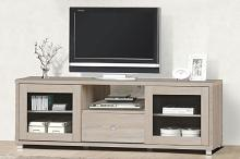 Natural finish wood wide TV stand with glass cabinet doors