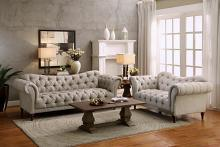 2 pc st claire collection brown tone herringbone patterned fabric upholstered sofa and love seat set with tufted backs