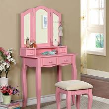 3 pc janelle collection transitional style pink finish wood bedroom make up vanity sitting table set with tri fold mirror
