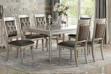 Poundex F2431-1705 7 pc Silverstry collection silver finish wood dining table set