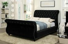 Noella collection black padded flannelette fabric upholstered and tufted sleigh queen bed frame set