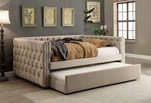 Suzanne collection ivory tufted linen like fabric upholstered full size day bed