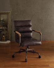 Acme 92415 Harith antique ebony top grain leather office chair with lift and casters