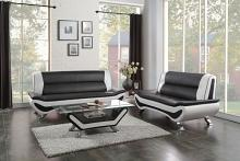 2 pc veloce collection black and ivory vinyl upholstered sofa and love seat set with chrome legs