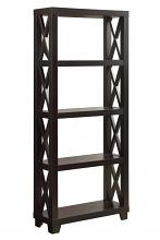 801353 X shaped sides 5 tier shelves espresso finish wood bookcase shelf unit