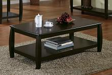 Wildon collection espresso finish wood coffee table with lower shelf