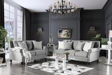 2 pc Giovanni collection light gray linen like fabric upholstered sofa and love seat set with nail head trim