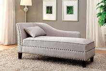 Still water collection beige linen like fabric padded chaise lounge with nail head trim accents