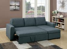 Poundex F6931 2 pc Everly blue grey polyfiber fabric sectional sofa set pull out sleep area