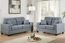 Poundex F7858 2 pc Aria collette grey faux linen fabric sofa and love seat set