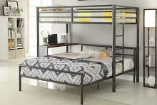 Collegiate collection dark gunmetal finish metal frame twin over twin bunk bed with desk