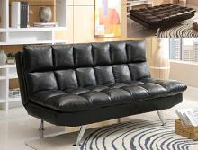 5250-BK Sundown black vinyl upholstered folding futon sofa bed with chrome legs