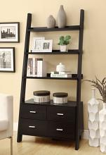 Leaning ladder style espresso finish wood modern styling slim line bookcase shelf unit with drawers
