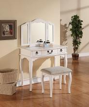 Poundex F4094 3 pc white finish wood make up bedroom vanity set with turned legs stool and tri-fold mirror