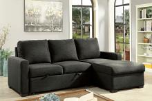 Furniture of america CM6564DG 2 pc Arabella dark gray linen like fabric sectional sofa set