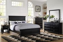 Poundex F9271 5 pc hampton ii panel headboard black finish wood queen bed set