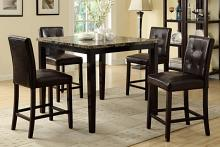 Poundex F2339-F1144 5 pc square faux marble espresso finish wood counter height dining table set with espresso faux leather upholstered chairs