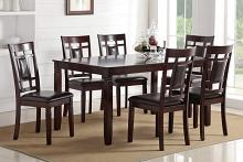 Poundex F2294 7 pc bridget ii collection espresso finish wood dining table set with grid pattern back padded seats