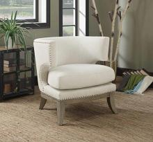 Cloister collection white chenille fabric upholstered barreled back accent chair with wood legs
