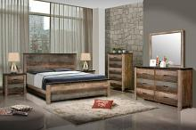 205091Q 5 pc Sunbeem antique multi color finish wood queen bed set with natural grain look