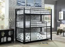 CM-BK917T Harriet bee dowdey carolyn triple twin bunk bed twin over twin over twin sand black metal frame industrial bunk bed