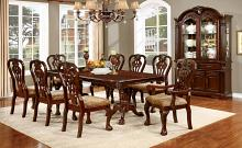 Furniture of america CM3212T 7 pc elana brown cherry finish wood double pedestal dining table set