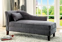 Still water collection gray linen like fabric padded chaise lounge with nail head trim accents