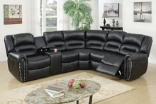 Poundex F6743 3 pc collette collection black bonded leather upholstered sectional sofa with nail head trim accents