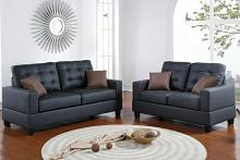 Poundex F7855 2 pc collette collection black faux leather upholstered sofa and love seat set
