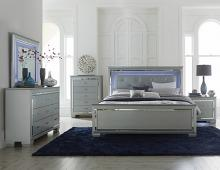 5 pc allura collection silver embossed alligator finish wood bedroom set with led trim