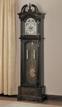 Brown finish wood grandfather clock with decorative crown and twisted braid edges