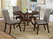 5 pc abelone collection mid century modern style walnut finish wood round dining table set