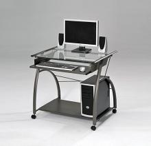 Acme 00118 Symply stuff ledbury vincent pewter metal glass computer desk clear glass top